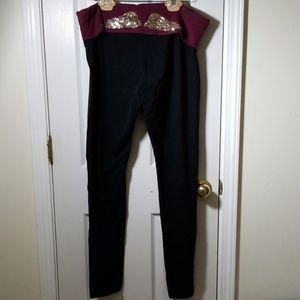 Victoria's secret leggings burgandy band XL